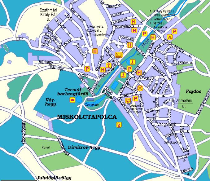 Miskolctapolca Hungary  city photos gallery : Miskolctapolca Mapa mestskej časti Miskolc Mapa centra mesta ...